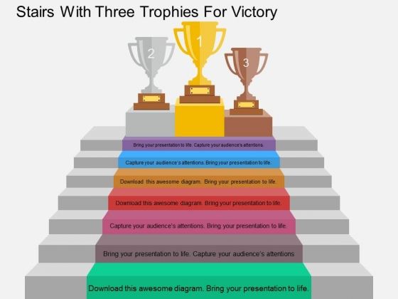 Stairs With Three Trophies For Victory Powerpoint Template