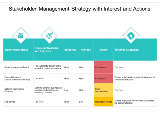 Stakeholder Management Strategy With Interest And Actions Ppt PowerPoint Presentation Infographics Structure PDF
