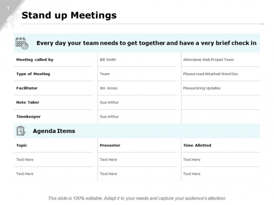 Stand Up Meetings Marketing Ppt PowerPoint Presentation Layouts Portrait