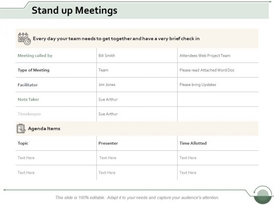 Stand Up Meetings Ppt Powerpoint Presentation Ideas