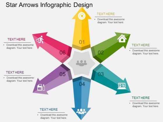 Star Arrows Infographic Design Powerpoint Templates