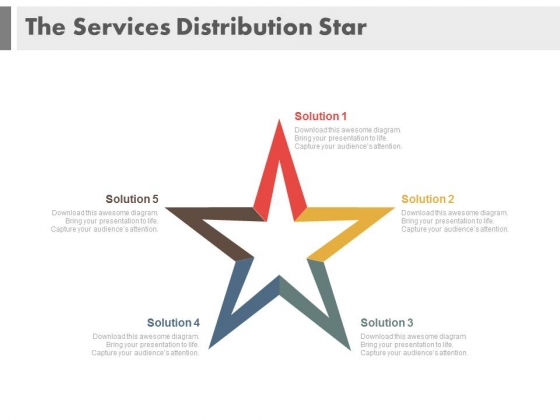 Star Diagram With Five Solutions PowerPoint Slides