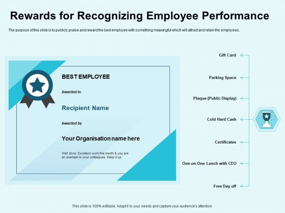 Star Performer Rewards For Recognizing Employee Performance Template PDF