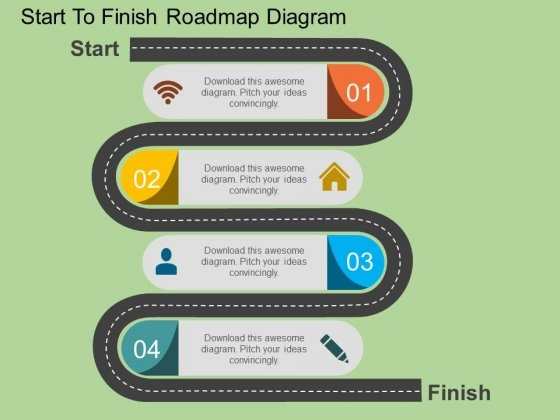 Start To Finish Roadmap Diagram Powerpoint Template