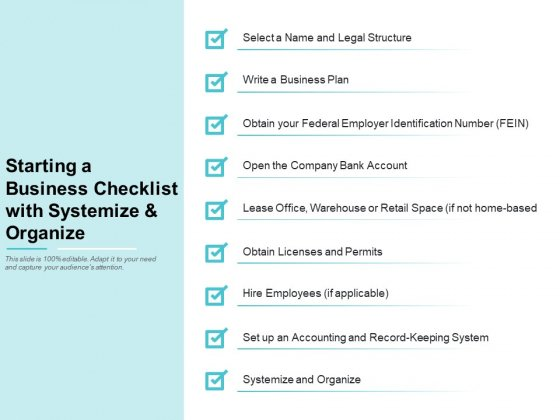 Starting A Business Checklist With Systemize And Organize Ppt PowerPoint Presentation Professional Graphics Download
