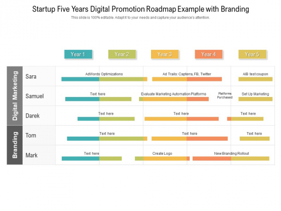 Startup Five Years Digital Promotion Roadmap Example With Branding Designs