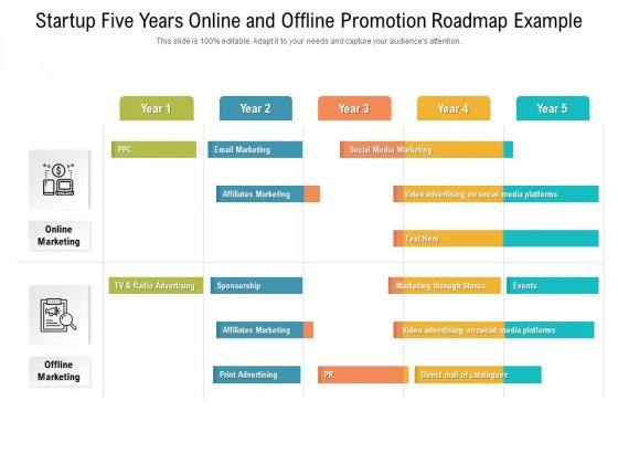 Startup Five Years Online And Offline Promotion Roadmap Example Microsoft