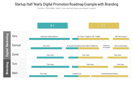 Startup Half Yearly Digital Promotion Roadmap Example With Branding Infographics
