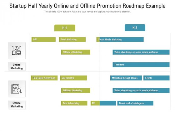 Startup Half Yearly Online And Offline Promotion Roadmap Example Pictures