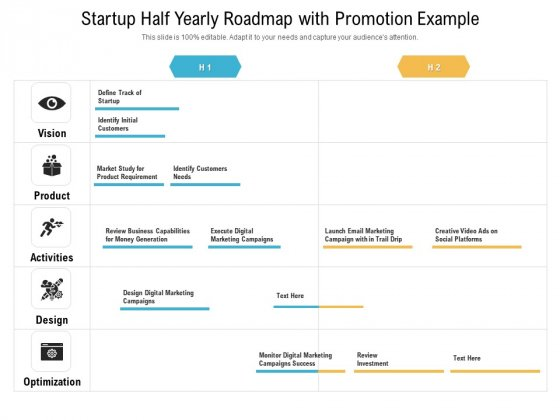 Startup Half Yearly Roadmap With Promotion Example Mockup