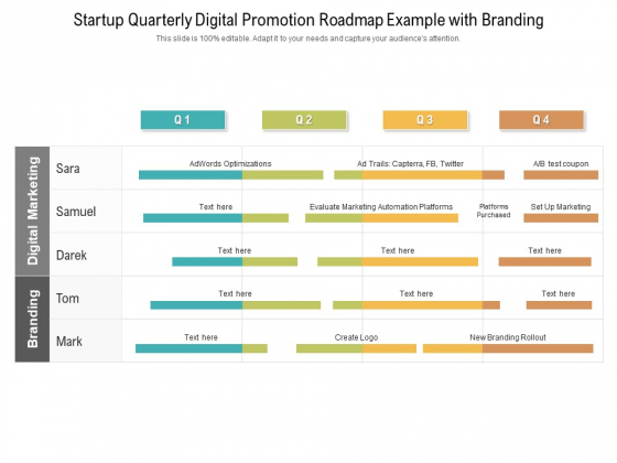 Startup Quarterly Digital Promotion Roadmap Example With Branding Brochure