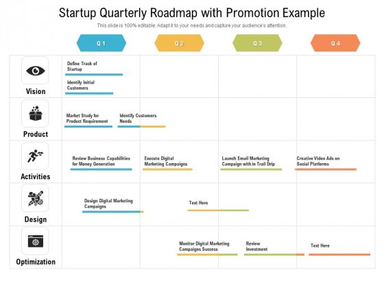 Startup Quarterly Roadmap With Promotion Example Icons