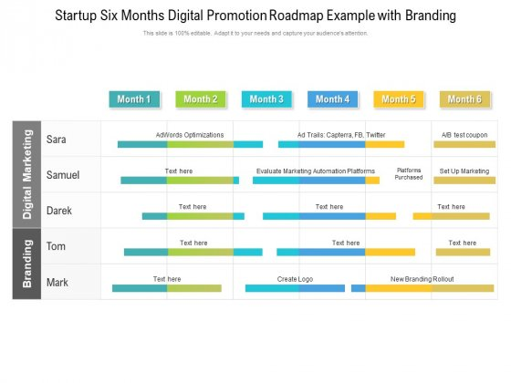 Startup Six Months Digital Promotion Roadmap Example With Branding Template