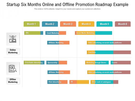 Startup Six Months Online And Offline Promotion Roadmap Example Sample