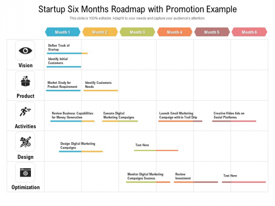 Startup Six Months Roadmap With Promotion Example Ideas