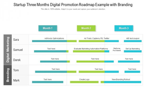 Startup Three Months Digital Promotion Roadmap Example With Branding Mockup