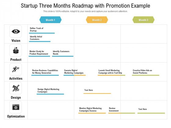 Startup Three Months Roadmap With Promotion Example Elements