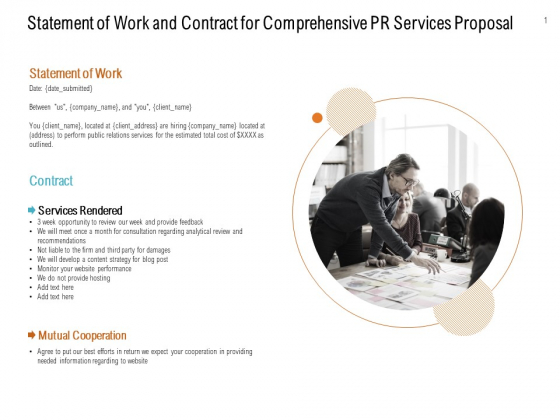 Statement Of Work And Contract For Comprehensive Pr Services Proposal Ppt PowerPoint Presentation Inspiration Good