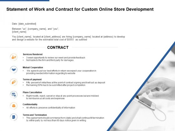 Statement Of Work And Contract For Custom Online Store Development Ppt PowerPoint Presentation Infographics Templates