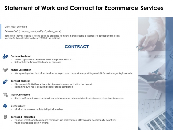 Statement Of Work And Contract For Ecommerce Services Ppt PowerPoint Presentation Model Brochure