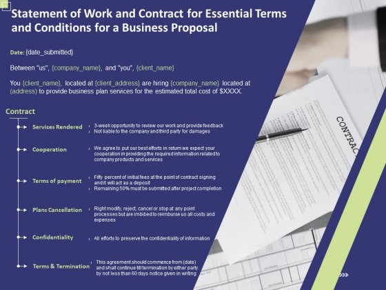 Statement Of Work And Contract For Essential Terms And Conditions For A Business Proposal Topics PDF