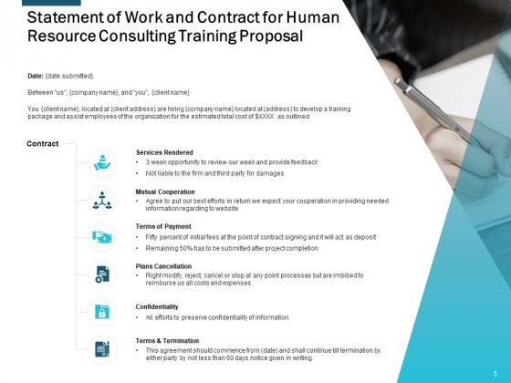 Statement Of Work And Contract For Human Resource Consulting Training Proposal Ppt Powerpoint Presentation Infographic Template Objects
