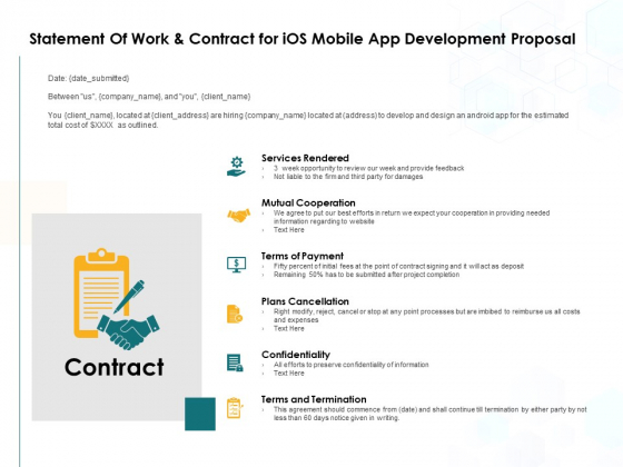 Statement Of Work And Contract For IOS Mobile App Development Proposal Ppt PowerPoint Presentation Gallery Graphics