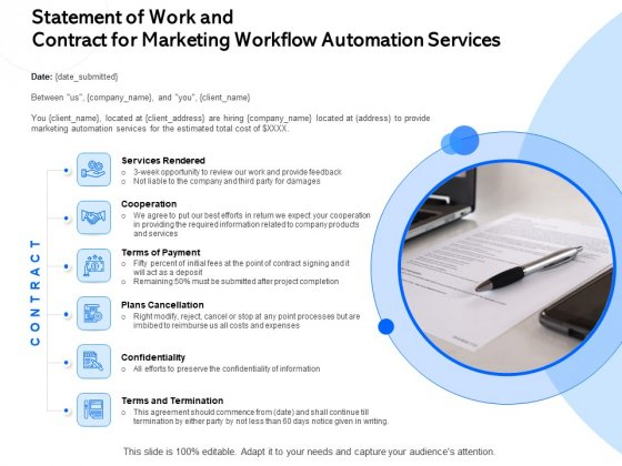 Statement Of Work And Contract For Marketing Workflow Automation Services Ppt Infographic Template Pictures PDF
