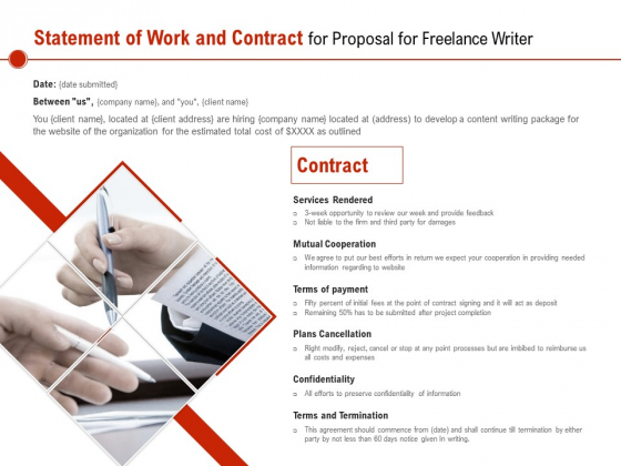 Statement Of Work And Contract For Proposal For Freelance Writer Ppt PowerPoint Presentation Slides Picture PDF