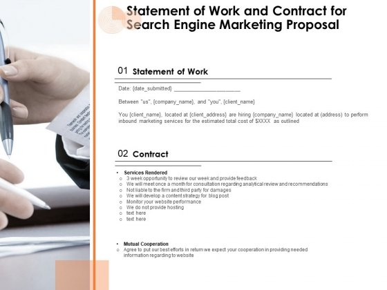 Statement Of Work And Contract For Search Engine Marketing Proposal Ppt PowerPoint Presentation Infographics Good PDF