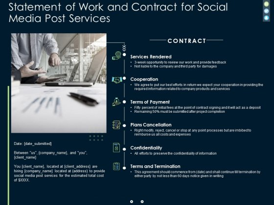 Statement Of Work And Contract For Social Media Post Services Ppt PowerPoint Presentation Gallery Brochure