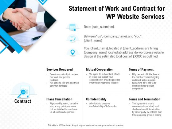 Statement Of Work And Contract For WP Website Services Ppt PowerPoint Presentation Infographics Format