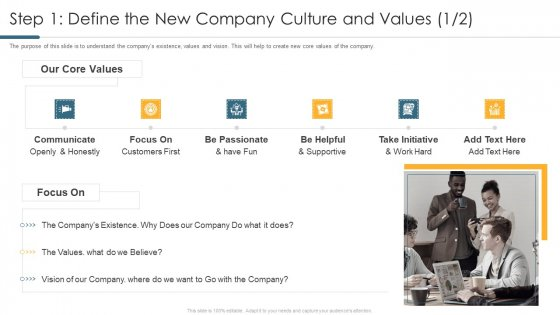 Step 1 Define The New Company Culture And Values Icon Topics PDF