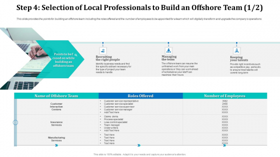 Step 4 Selection Of Local Professionals To Build An Offshore Team Customer Summary PDF