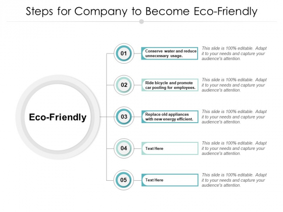 Steps For Company To Become Eco Friendly Ppt PowerPoint Presentation Outline Design Inspiration
