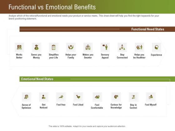 Steps For Successful Brand Building Process Functional Vs Emotional Benefits Portrait PDF