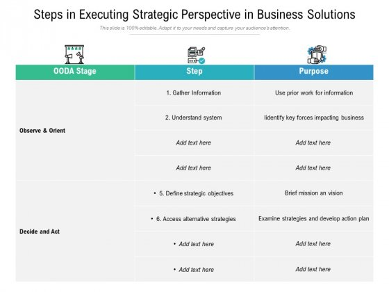Steps In Executing Strategic Perspective In Business Solutions Ppt PowerPoint Presentation Model Pictures PDF