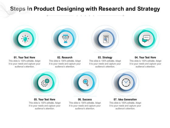 Steps In Product Designing With Research And Strategy Ppt PowerPoint Presentation File Pictures PDF