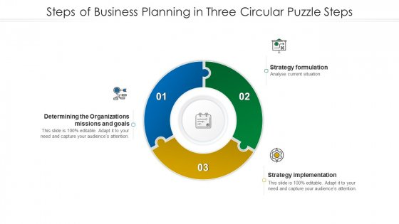 Steps Of Business Planning In Three Circular Puzzle Steps Sample PDF