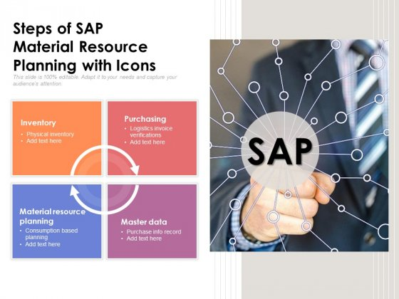 Steps Of SAP Material Resource Planning With Icons Ppt PowerPoint Presentation Slides Objects PDF