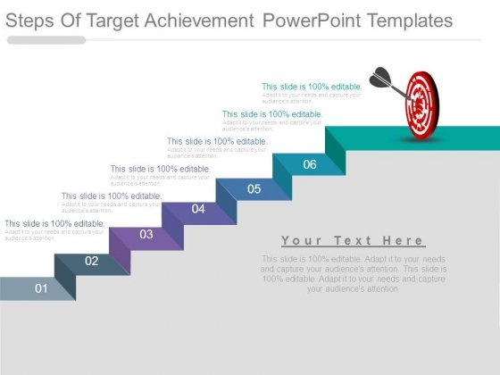 Steps Of Target Achievement Powerpoint Templates