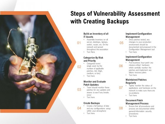 Steps Of Vulnerability Assessment With Creating Backups Ppt PowerPoint Presentation Model Background Images PDF