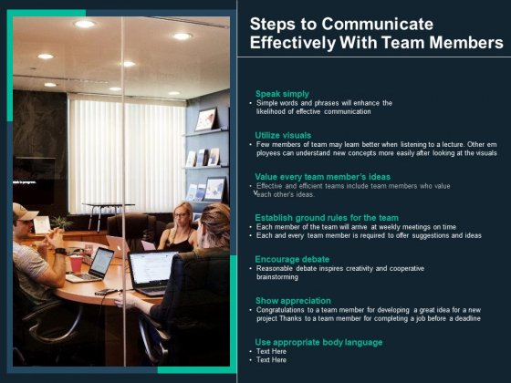Steps To Communicate Effectively With Team Members Ppt PowerPoint Presentation Gallery Background PDF