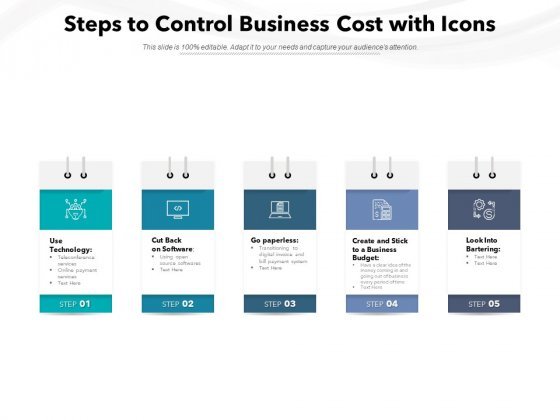 Steps To Control Business Cost With Icons Ppt PowerPoint Presentation Infographic Template Gridlines PDF