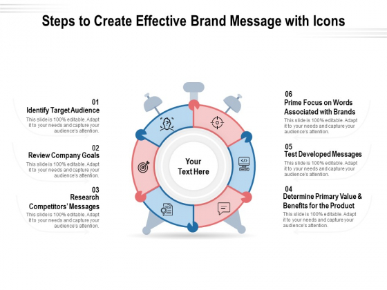 Steps To Create Effective Brand Message With Icons Ppt PowerPoint Presentation File Deck