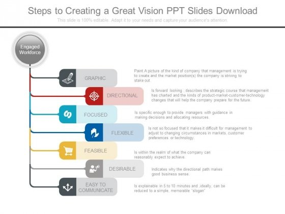 Steps To Creating A Great Vision Ppt Slides Download