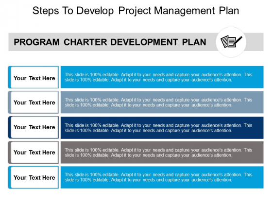 Steps To Develop Project Management Plan Ppt PowerPoint Presentation Ideas Example