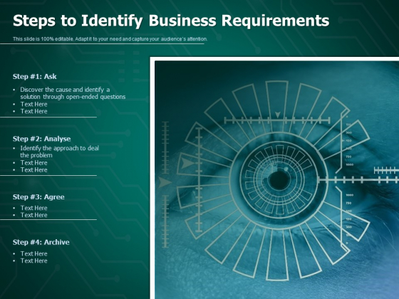 Steps To Identify Business Requirements Ppt PowerPoint Presentation Inspiration Vector PDF