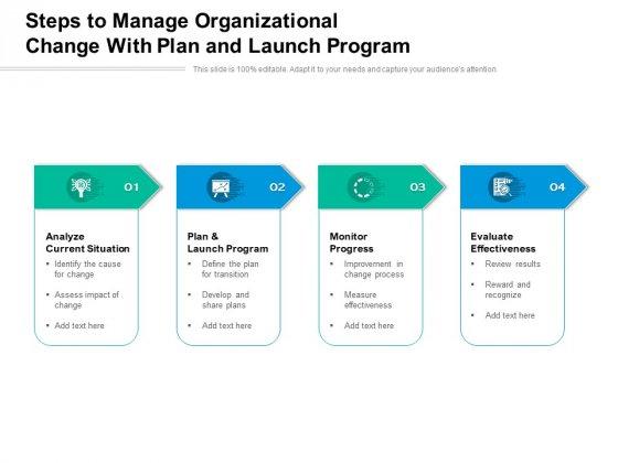 Steps To Manage Organizational Change With Plan And Launch Program Ppt PowerPoint Presentation Ideas Images PDF