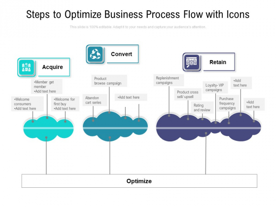 Steps To Optimize Business Process Flow With Icons Ppt PowerPoint Presentation Professional Deck PDF